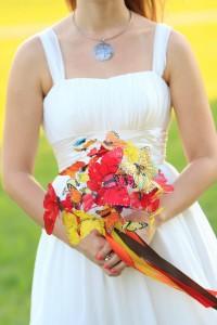 Mariposas en el ramo de novias