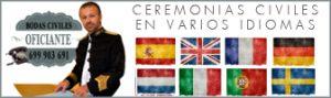 Ceremonias civiles en Marbella, Málaga, Sevilla, Córdoba, Granada, Cádiz, Huelva, Almería y Jaén